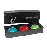 Boxed Set of 3 Lime, Red Ember, Aqua 13cm Bowls