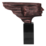 Faces In The Wind Sculpture - Antique Copper