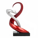 Soulmates Sculpture 63cm Red and Silver Foil