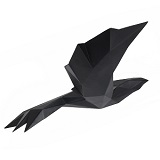 Origami Flying Bird - Matte Black