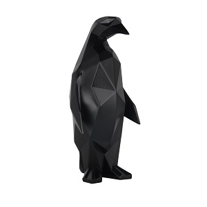 Geometric Penguin Sculpture - Matte Black