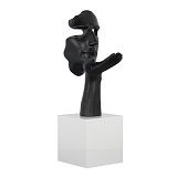 Face and Plam Sculpture - Matte Black