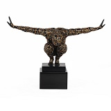 Labyrinth Male Athlete Sculpture Gold and Black